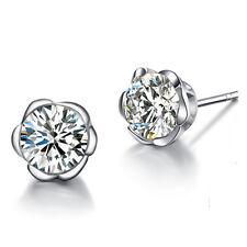 925 Sterling Silver Women Plum Jewelry Lady Elegant Crystal Ear Stud Earrings
