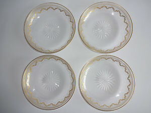 "4 St Saint Louis Crystal Beethoven Dessert Plates Bowls Gold Sauce Fruit 5"""