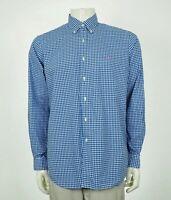 Polo Ralph Lauren Blue Cotton Plaid Striped Button Shirt Mens Large