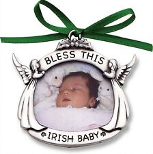 Bless This Irish Baby Christmas Photo Ornament Angels Pewter Picture New