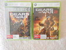 XBOX 360 GEARS OF WAR + GEARS OF WAR 2 WITH MANUALS + 10 GAME DEMO DISC TOP NIC