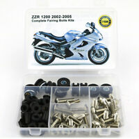 Complete Fairing Fasteners Bolts Kit Fit For Kawasaki ZZR 1200 2002-2005 Silver