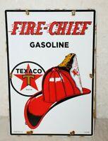 TEXACO FIRE CHIEF GASOLINE OIL PORCELAIN ENAMEL SIGNS GAS PUMP VINTAGE STYLE