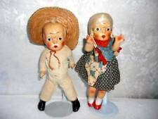 Unmarked ~ Vintage Composition Doll Couple 9""