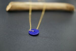 Tiny Donut Lapis Lazuli Pendant Gold Filled Chain Necklace 16'' Gift for Her