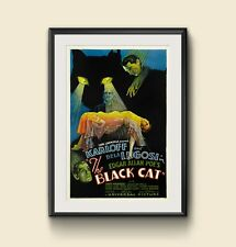 Black Cat movie poster canvas print vintage horror Halloween decor Boris Karloff