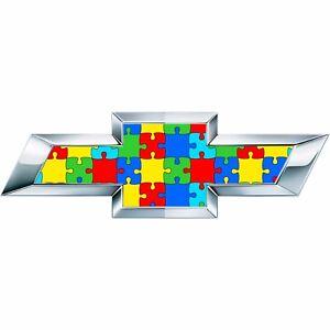 2 Silverado Autism Awareness Universal Chevy Bowtie Vinyl Sheets Emblem Overlay