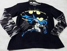 Batman Boy's Small Black Tee With Long, Camo Overlay Sleeves~ Batman And Logo