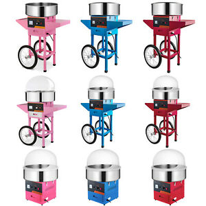 Commercial Candy Floss Machine Cart With Cover Cotton Candy Sugar Maker Electric