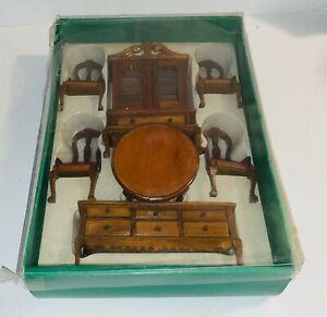 Vintage Albert Price Wood Dining Set NIB Red Velvet Chairs