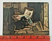 Vintage Dog Guarding Baby Cradle Scene Victorian Paper Lithograph
