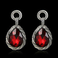 Drop Dangle Vintage Red And Silver Plated Earrings in VELVET GIFT BAG