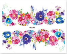 Nail Art Stickers Water Decals Transfers Colourful Flowers (WG280)