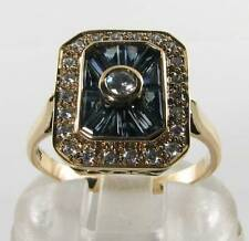LARGE 9K 9CT GOLD BLUE SAPPHIRE & DIAMOND ART DECO INS RING RARE CUT FREE RESIZE