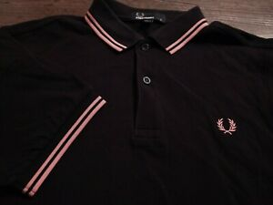 FRED PERRY Men's Polo Style 100% Cotton Small BLACK w/ Orange SS Shirt