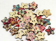 "Pkg of 10 FLORAL STAR 2-hole 11/16"" (17mm) Wooden Buttons Scrapbook Craft (2872)"