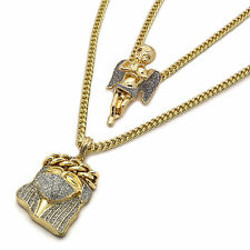 "18k Gold Plated High Fashion Jesus & Angel Set 3mm 24"" and 30"" Inch Cuban Chain"