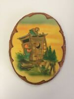 S Miller Bears Building an Outhouse Wall Wood Plaque Handmade Crescent Moon