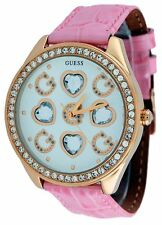 NEW GUESS WOMENS WATCH PINK CROC LEATHER w/GOLD TONE HEARTS+CRYSTALS-U10035L2