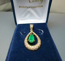 pendentif amovible or jaune émeraude et diamants./pendant emerald with Diamonds.