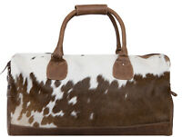 Deluxe holdall sac tan genuine cowhide cuir et vache fourrure week-end polochon voyage