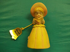 Vintage Yellow 1978 Little Girl Merri Bells Porcelain Bell Figurine Nice Item!