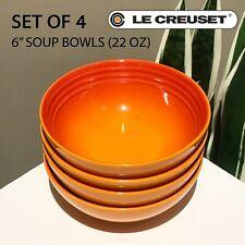 "SET OF 4 New Le Creuset Stoneware 6"" Soup Cereal Bowl Flame Orange 650 ml 22 oz"