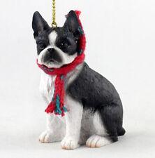 "Large 3"" Boston Terrier Dog Christmas Ornament Holiday Xmas Figurine Scarf gift"