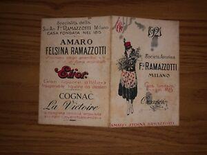 CALENDARIETTO ANNO 1921 F. LLI RAMAZZOTTI MILANO AMARO FELSINA RAMAZZOTTI