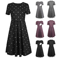 Women Pregnant Maternity Nursing Dot Print DressTunic Summer Short Sleeve Dress