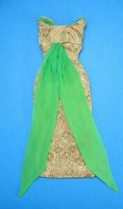 AUCTION Vintage BARBIE - GOLDEN GLORY 1645 > Gold Floral Lame Dress Green Scarf