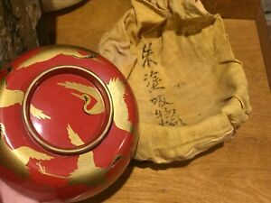 Meiji (8) Lacquer Bowls in Original Covers and Box - Finest Gold Gilt Cranes
