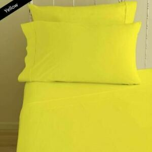 Australian 100% Cotton Yellow Solid Single Size Bed Sheet Set 1000 Count