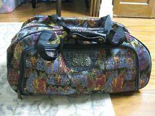 "Large Laurel Burch Black ""Cats"" Tapestry Wheeled Duffle Bag Carryall"