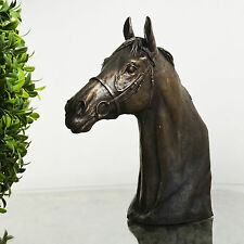 Race Horse Head Bronze Sculpture Bust Statue Thoroughbred By David Geenty 06004