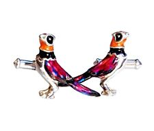 PHEASANTS CUFFLINKS, ENAMEL, STERLING by G.DANILOFF & CO. USA