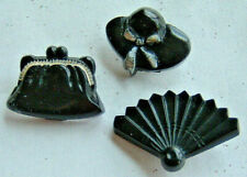 "Charming Vintage Set of Black Hat Purse & Fan Plastic ""Kiddie"" Buttons 1940-50's"