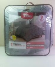 Better Homes and Gardens Pintucked 3-Piece Comforter Set Gray King Size