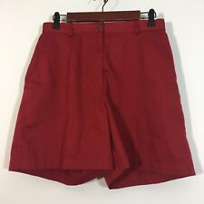 LL Bean Shorts Women Size 10 Red Pleated Chino