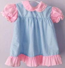 48 chest  Adult Baby Sissy Crossdresser Short Pink & Blue Cotton Dress