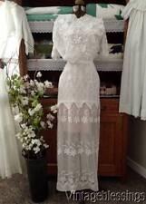Stunning Antique Edwardian Lace Tulle Tea or Wedding Dress Lavish Embroidery