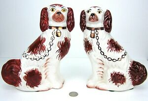 """Pair Vintage English Staffordshire Mantel Dogs Hand Painted 9 1/4"""" Kent Russet"""