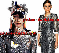 Dolce & Gabbana Metallic Floral Lace Swarovski Crystal Hand Embellished Dress