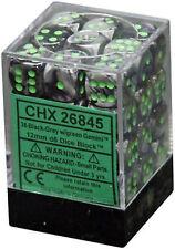 Chessex Dice d6 Sets Gemini Black & Grey Gray w/ Green 12mm Six Sided CHX 26845