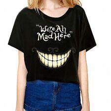 Women T shirt Short Black Big Teetch Alice In Wonderland We're All Mad Here