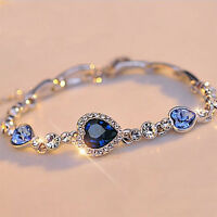 Women Ocean Blue Crystal Rhinestone Heart Bangle Bracelet Gift Fashion UK RR