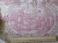 "Hand Blocked French Antique Faded Red & White Linen Toile Fabric Panel~78""LX30""W"