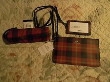 COACH RED PLAID  LANYARD, and WRISTLET NWT SET 54461 55992