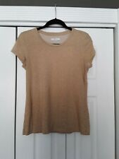 Nike Sports Tee Fit Dry Women's Size L Swoosh Logo Tan/Gold Exercise Top