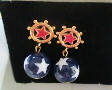 VINTAGE AVON*STAR SPANGLE DANGLE PIERCED EARRINGS W/SURGICAL STEEL POST*NIB*1992